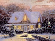 Kinkade Prints - Thomas Kinkade Xmas Christmas Eve Print by Thomas kinkade Collector