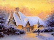 Kinkade Prints - Thomas Kinkade Xmas Christmas Tree Cottage Print by Thomas kinkade Collector