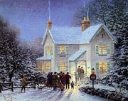 Kinkade Prints - Thomas Kinkade Xmas Evening Carolers Print by Thomas kinkade Collector