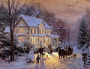 Kinkade Prints - Thomas Kinkade Xmas Home For The Holidays Print by Thomas kinkade Collector