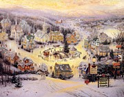 Kinkade Framed Prints - Thomas Kinkade Xmas St Nicholas Circle Framed Print by Thomas kinkade Collector