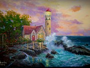 Kinkade Prints - Thomas Kinkades Beacon of Hope Print by Vanda Bleavins