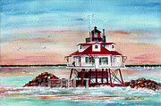 Lighthouses Paintings - Thomas Point Lighthouse by Bette Orr