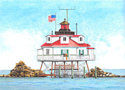 American Flag Pastels Framed Prints - Thomas Point Lighthouse Framed Print by David Gallagher