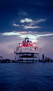 White Lighthouse.light Photos - Thomas Point Shoal Lighthouse by Skip Willits