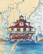 Chart Painting Posters - Thomas Pt Shoals Lighthouse MD Nautical Chart Map Art Cathy Peek Poster by Cathy Peek