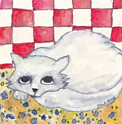 Kittens Mixed Media Prints - Thomas the Cat in Watercolor Print by Janel Bragg