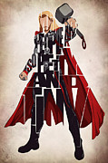 Avengers Prints - Thor - Chris Hemsworth Print by Ayse Toyran