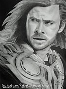 Thor Drawings Prints - Thor Odinson - Chris Hemsworth Print by Enrique Garcia
