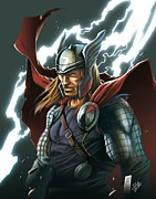 Talking Digital Art Metal Prints - Thor Metal Print by YleniArt Italy