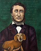 Beard Prints - Thoreau With Louis Le Bref Print by Leah Saulnier The Painting Maniac