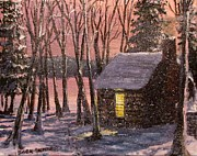 Walden Pond Painting Prints - Thoreaus Cabin Print by Jack Skinner