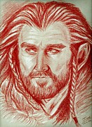 Richard Drawings - Thorin Oakenshield sanguine by Joane Severin