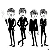 Fab Four  Metal Prints - Those Fab Beatles Metal Print by David Finley