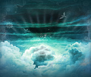 Light Gray Turquoise Posters - Those Who Have Departed - Celestial Version Poster by Bedros Awak