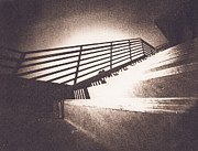 Staircase Railing Framed Prints - Though the eye of a pinhole Framed Print by Caitlyn  Grasso