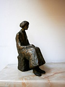 Collection Sculpture Framed Prints - Thoughtful woman Framed Print by Nikola Litchkov