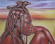 Africa Pastels Originals - Thoughtfulness by Irisha Golovnina