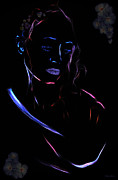 Noir Digital Art - Thoughts blue by David ZAW
