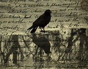 Crow Collage Prints - Thoughts Of Poe Print by Gothicolors And Crows