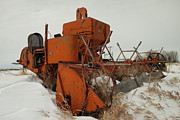 Ancient Tractor Prints - Thrashing The Snow Print by Jeff  Swan