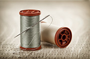 Bobbins Posters - Thread and needle Poster by Elena Elisseeva