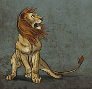 Lion Digital Art Metal Prints - Threatened Metal Print by Aaron Blaise