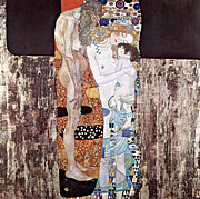 Klimt. Nude Woman Posters - Three Ages Of Woman Poster by Gustive Klimt