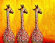 Tanzania Paintings - Three Amigos Giraffes Looking Back by Jerome Stumphauzer