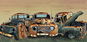 Rusty Truck Paintings - Three Amigos by John Wyckoff