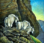 Mountain Goat Paintings - Three Amigos Original oil painting by Vincent von Frese