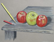 Gina Gahagan Metal Prints - Three Apples Metal Print by Gina Gahagan