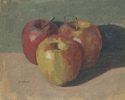 Still Life Paintings - Three Apples by John Holdway