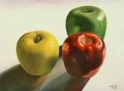 Folk Realism Framed Prints - Three Apples Framed Print by Sharon Challand