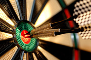Indoor Sport Framed Prints - Three arrows in the centre of a dart board Framed Print by Michal Bednarek