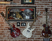 Musical Instrumends Prints - Three Autographed Guitar and Records by famous bands Memorabilia Print by Renee Anderson