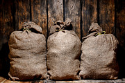 Burlap Prints - Three Bags in a Warehouse Print by Olivier Le Queinec