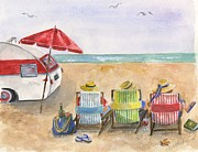Beach Chairs Posters - Three Beach Camping Amigos Poster by Sheryl Heatherly Hawkins
