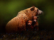 Kodiak Digital Art Prints - Three Bears Print by Robert Foster