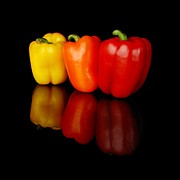 Hot Peppers Prints - Three Bell Peppers Print by Jim Hughes