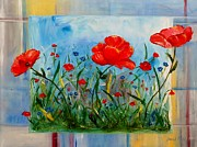 Free Form Paintings - Three Big Poppies by Jamie Frier