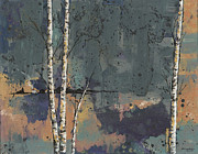 Birch Trees Paintings - Three Birches by John Wyckoff