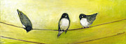 Bird Paintings - Three Birds on a Wire No 2 by Jennifer Lommers