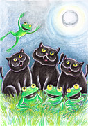 Amphibians Pastels - Three Black Cats And A Frog by Loris Bagnara