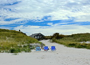 Mayflower Beach Prints - Three Blue Beach Chairs Print by Amazing Jules