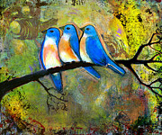 Rustic Painting Prints - Three Bluebirds on a Branch Print by Blenda Studio
