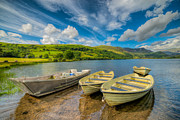 Mountain Valley Digital Art Posters - Three Boats Poster by Adrian Evans