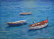 Greeting Card Pastels Originals - Three Boats by Joanne Grant