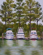 Troller Posters - Three Boats Poster by Valerie Chiasson-Carpenter