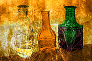 Industry Photo Originals - Three bottles on canvas by Tommy Hammarsten